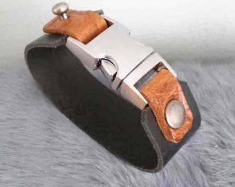 tough leather bracelet, leather cuff, black, Brown, buckle, gift for him/her