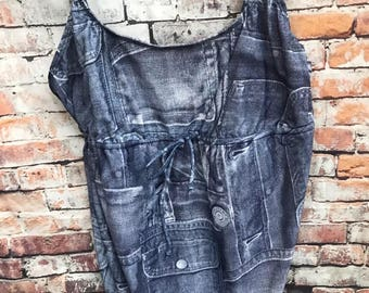 90s 1 Piece denim overalls Swimsuit Suspender Jeans Sz 14 XL