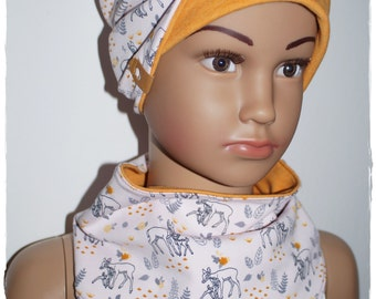 Reversible hat scarf children + baby made