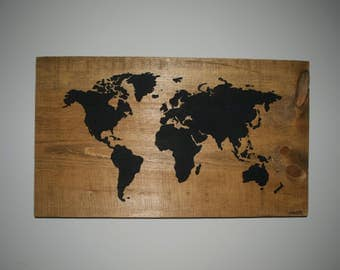 Original Wooden World Map Painting
