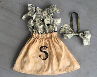 Money Bag tycoon Halloween costume baby child girl women cosplay wealthy cash bank teller Wall Street financial advisor investor finances
