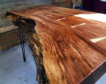 Arbutus Live Edge Wood Slab Desk/ Table   Custom