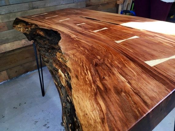 Live edge arbutus desk table wood custom handmade for Wood slab ideas