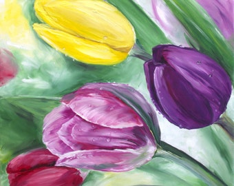 Original Tulip Painting, Flower Oil Painting, 12x12 Canvas, Summer Decor, Small Canvas Wall Decor