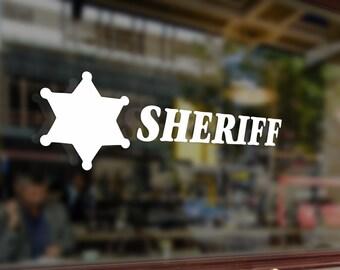 SHERIFF Vinyl Stickers Funny Decals Bumper Car Auto Computer Laptop Wall Window Glass Skateboard Snowboard Helmet