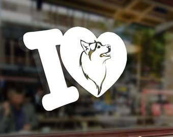 I LOVE MY HUSKY or Dog Vinyl Stickers Decals Bumper Car Auto Computer Phone Mobile Laptop Wall Window Glass Skateboard Snowboard Helmet