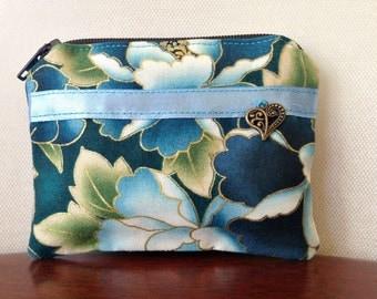 Handmade cotton coin purse - blue Japanese print