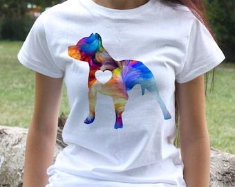 Pitbull t-shirt - Pitbull terrier tee - Fashion women's apparel - Colorful printed tee - Gift Idea