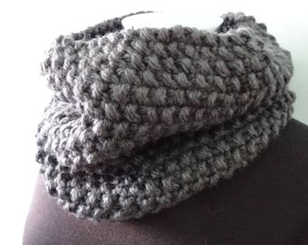 Cowl Neck Scarf in Grey Marle