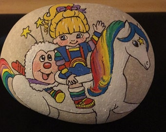 Rock painting, Rainbow Brite and Sprite painted rock, stone