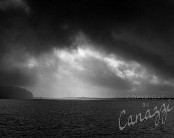 Spotlight / beach black and white photograph, fine art, beach wall art print, ocean photo, b&w photography, beach decor, sand, seascape