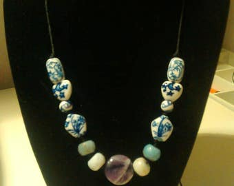Porcelain bead necklace, with amethyst and amazonite