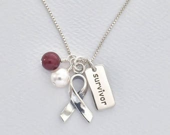 Head and Neck Cancer Awareness Sterling Silver Necklace, Burgundy and White Swarovski Pearl Dangles, Silver Support Ribbon With Word Charm