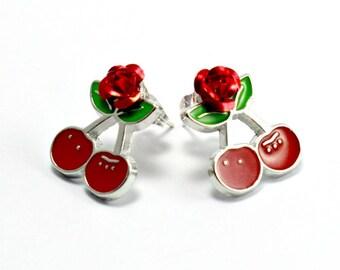 Rockabilly Cherry Rose Stud Earrings Kitsch 1950s Retro Jewellery