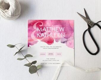 Printable Engagement Invitation | Fuschia Watercolour | Modern