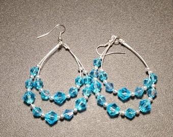 Turquoise Crystal and Silver Hoop Earrings