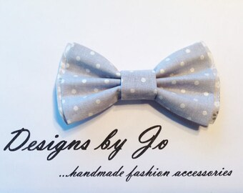 Boys Bow Tie, Grey White Polka Dot Bow Tie, Bar Mitzvah Bow Tie, Wedding Bow Tie, Grey Bow Tie for Men, Baby Bow Tie, Easter Bow Tie B669