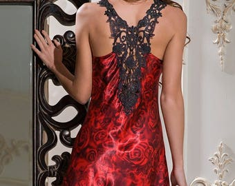 Red silk chemise.  Silk slip in royal red colour Carmen collection