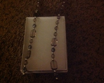 """15"""" Black Opaque and Silver Necklace"""