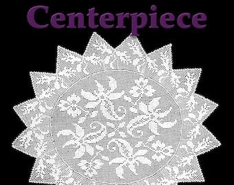Clematis Lace Centerpiece Filet Crochet Pattern