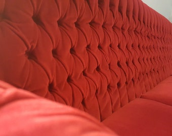 Real Vintage Red Velour tufted couch/ sofa.