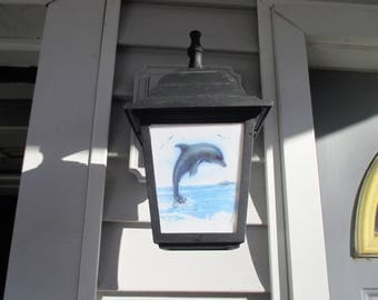 Dolphin, porch light, outdoor lighting fixture, lamp post, street lamp, fused glass, stained glass, melted glass, porch lamp, dolphin, sea