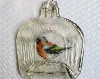 Crown Royal Bottle, bird, melted bottle, slumped bottle, wall hanging, wall decor, melted glass, recycled glass, crown royal, wall art, art