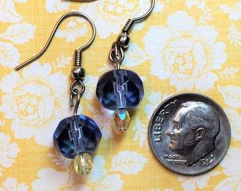 Indigo blue, pale yellow glass bead earring