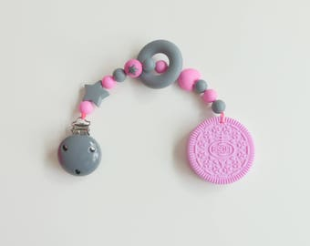 Biting chain silicone cookie biscuit pink / grey