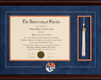 university of florida diploma frame with tassel and logo