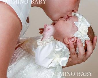 IZOLDA newborn headband, christening headband, baptism headband, girl christening outfit, baby special occasion dress, baby first birthday