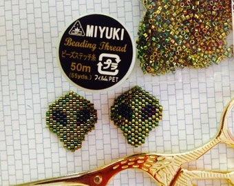 Earrings Alien woven by hand with Miyuki Japanese wire and glass beads.