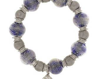 Beaded sterling silver and murano glass bracelet rhodium/Ruthenium plated