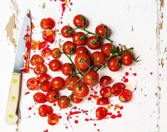 Kitchen Art, Food Photography - Chopping Tomatoes landscape Print - Original fine art by Cath Lowe