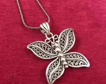 Butterfly Necklace, butterfly Pendant ,Silver, gemstones necklace, filigree mothers day, gift for her