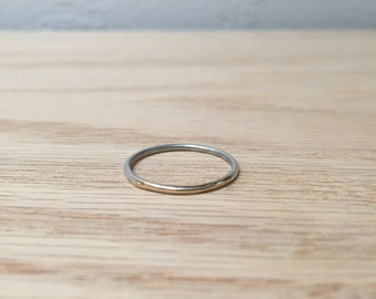 10k Solid Gold and Sterling Silver Fused Wire Ring No. 12 -Stackable - Modern - Handmade
