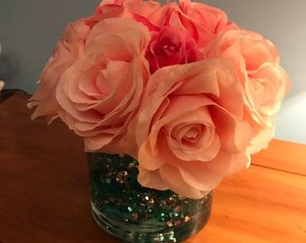 Peach & Pink Classic Faux Rose Floral Arrangement