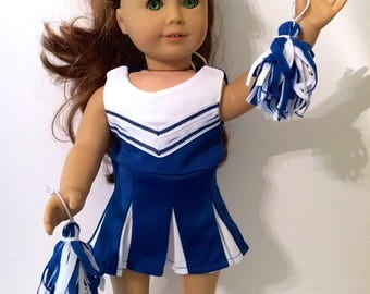 18 Inch Doll Clothes Blue and White Cheerleading Outfit Dress and 2 Pom Poms Also Fits American Girl Doll Clothes