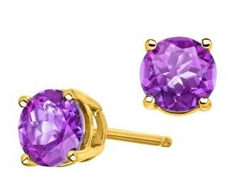Amethyst earrings yellow gold