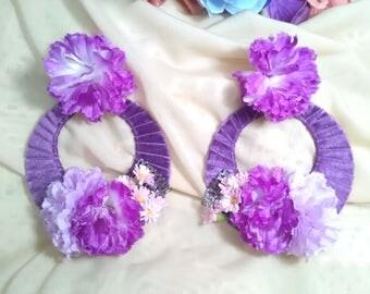 Flamenco earrings, lined earrings, purple earrings, gypsy earrings, flower earrings, Mother's Day