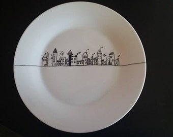 Hand painted plate - City motive - FREE SHIPPING