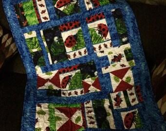 Handmade Ladybug baby quilt