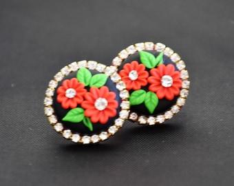 black polymer earrings