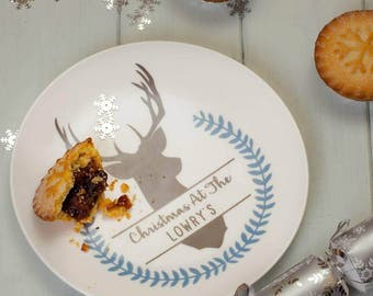 Personalised Winter Stag Side Plate