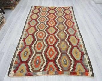 5' 1''x8' 8''Handwoven vintage decorative colourful Turkish kilim rug