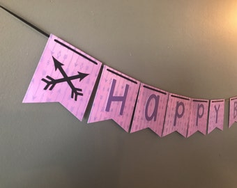 Purple Arrows Birthday Banner (with name)