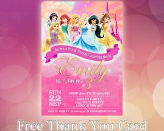 Personalised Disney Princess Birthday Invitations Princesses Party Snow White Cinderella Belle Beauty Beast Ariel Jasmine Aurora - DP01