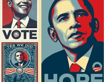 """ONLY TODAY!! Essentials 3 """"OBAMA/ Hope, Vote, yes we did"""" - set of three (3) Public poster Reprint"""