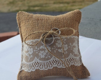 Burlap Rustic Ring Bearer Pillow - Rustic Farm Wedding