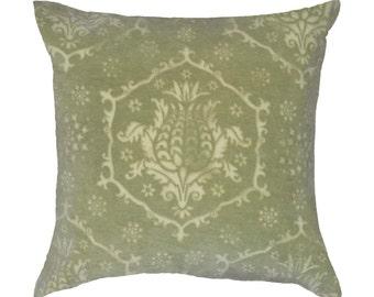 Pineapple Damask velvet pillow - chartreuse green